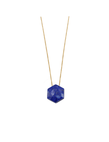 Collier Lapis lazuli Hexagonal en Plaqué or