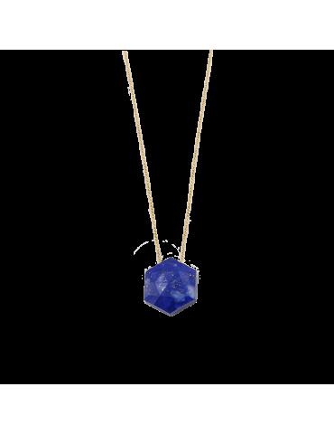 Collier Lapis lazuli Hexagonal en Plaqué or