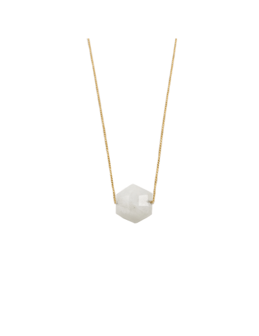 Collier Pierre de lune hexagonale en Plaqué or