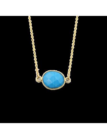 Collier avec Turquoise ovale en Plaqué or