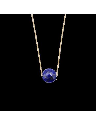 Collier Lapis lazuli rond en Plaqué or