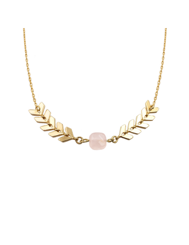 Collier chevron Quartz rose carré en Plaqué or - Antica