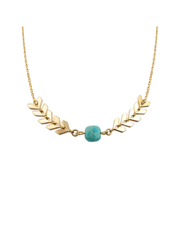 Collier chevron Amazonite carrée en Plaqué or - Antica