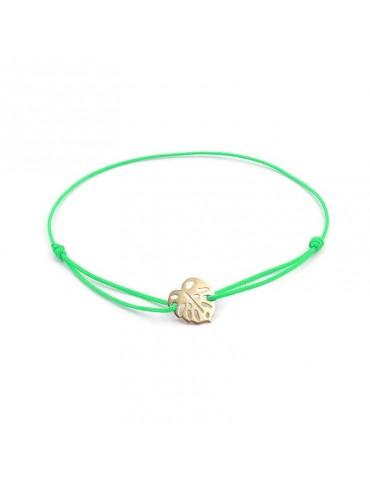 Bracelet Cordon avec motif feuille Monstera en Plaqué or