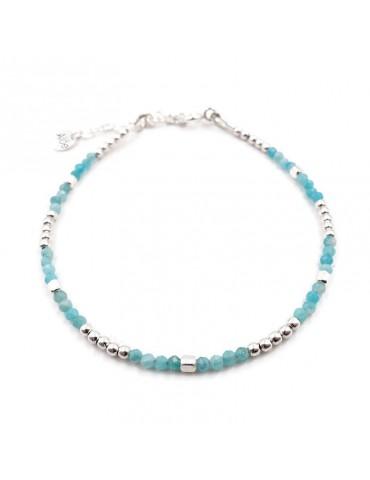 Bracelet perles Amazonite 2mm et Argent 925 - Mia Aloe Bijoux