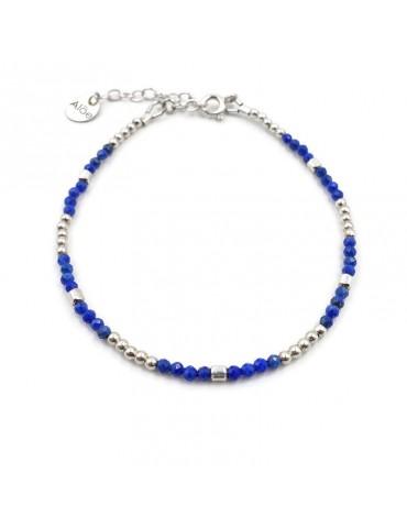 Bracelet perles Lapis lazuli 2mm et Argent 925 - Mia
