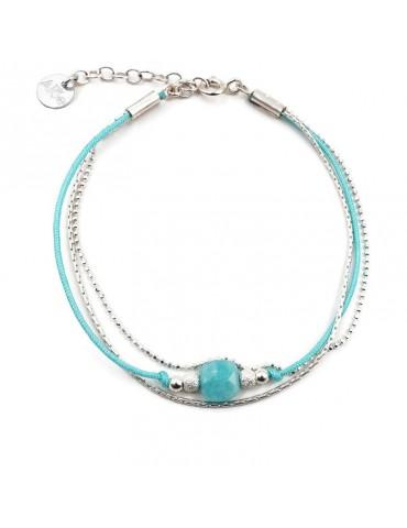 Bracelet Amazonite carrée et Argent 925 - Cassipoée