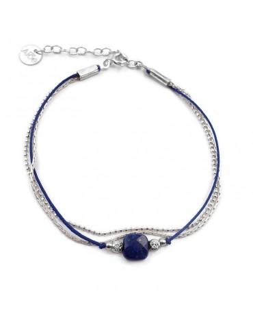 Bracelet Lapis lazuli carrée et Argent 925 - Cassiopée