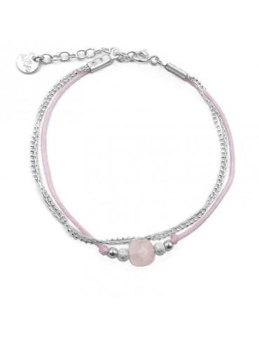 Bracelet Quartz rose carré et Argent 925 - Cassiopée