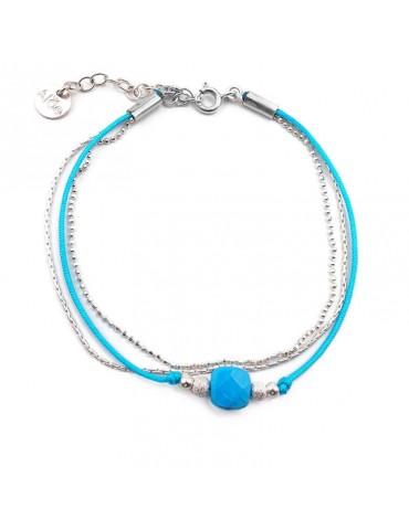 Bracelet Turquoise carrée et Argent 925 - Cassiopée