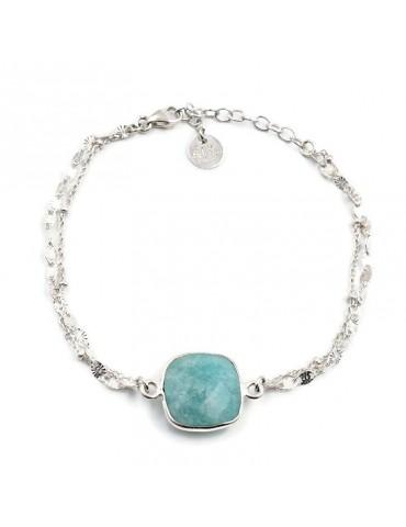 Bracelet Amazonite carrée et Argent 925