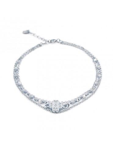 Bracelet trèfle pierres de lune multi rangs et Argent 925