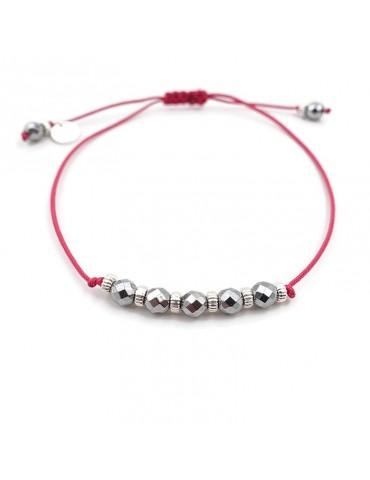 Bracelet Cordon hématites Facettées et perles Argent 925