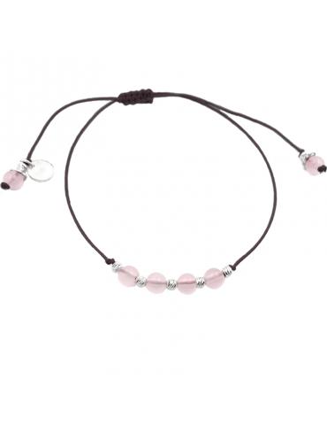 Bracelet Cordon perles Quartz rose 4 mm et Argent 925 - Olga