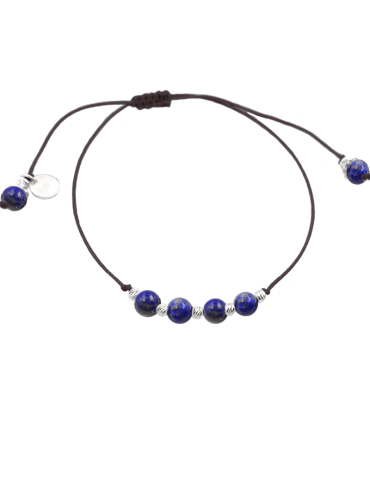 Bracelet Cordon Lapis lazuli 4 mm et Argent 925 - Olga