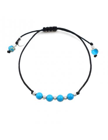 Bracelet Cordon Turquoise 4 mm et Argent 925 - Olga