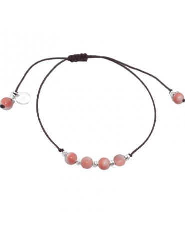 Bracelet Cordon Bambou de mer 4 mm et Argent 925 - Olga