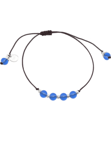 Bracelet Cordon Agate bleue 4 mm et Argent 925 - Olga
