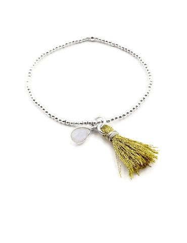 Bracelet Pompon et pampille Quartz rose et perles Argent 925