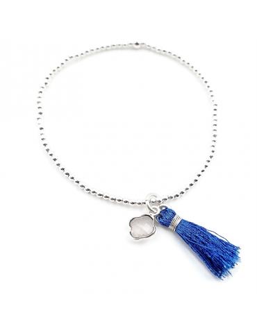 Bracelet Pompon et pampille Pierre de lune et perles Argent 925
