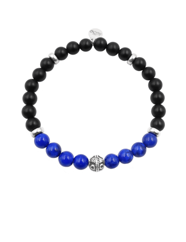 Bracelet lapis lazuli et onyx en Argent 925 - Bliss