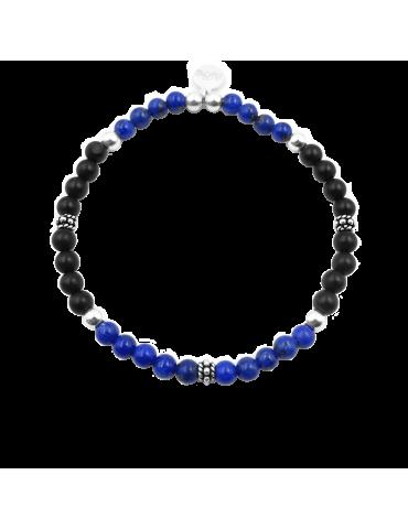 Bracelet lapis lazuli et onyx en argent - Mira