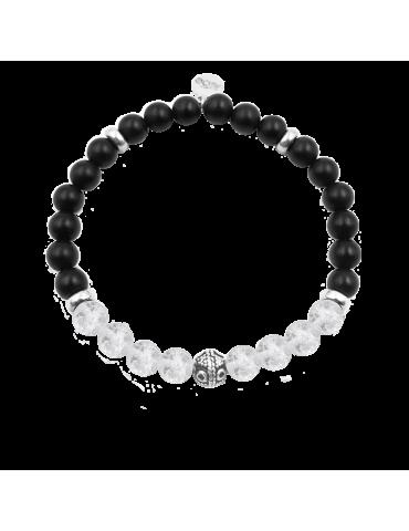 Bracelet Cristal de roche et onyx en Argent 925 - Bliss