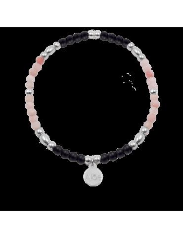 Bracelet opale rose et onyx en Argent 925 - Lena
