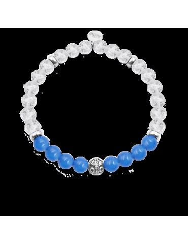Bracelet Cristal de roche et Agate bleue en Argent 925 - Bliss