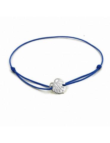 Bracelet Cordon avec motif feuille Monstera en Argent 925