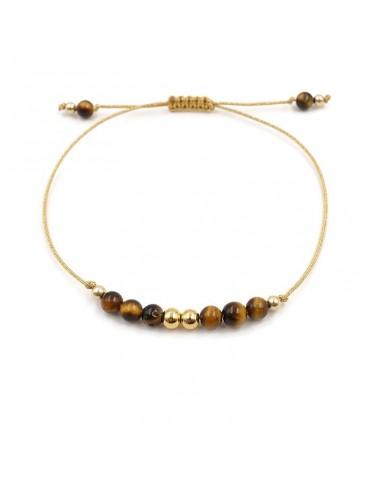 Bracelet cordon Pierre Oeil de tigre et perles en plaqué or