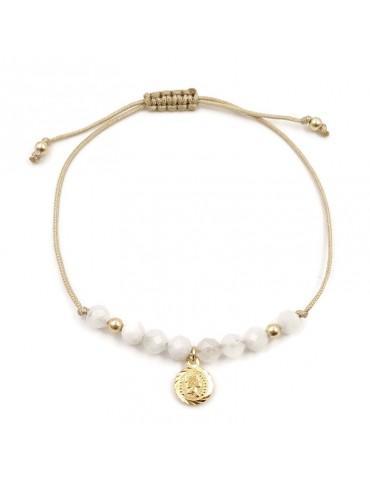 Bracelet cordon Morganite avec médaille reine en plaqué or