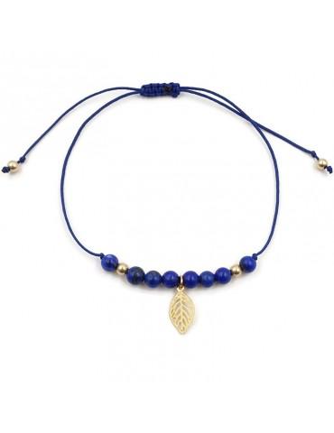 Bracelet cordon Pierre Lapis lazuli avec pampille feuille en plaqué or