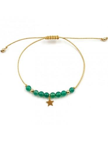 Bracelet cordon Pierre agate verte avec pampille étoile en plaqué or