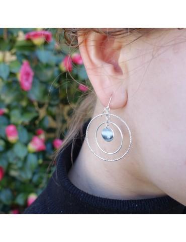 Boucles d'oreilles avec cercles mobiles en Argent 925. Aloe Bijoux