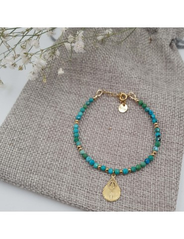 Bracelet Turquoise et plume de Paon en plaqué or Aloe Bijoux