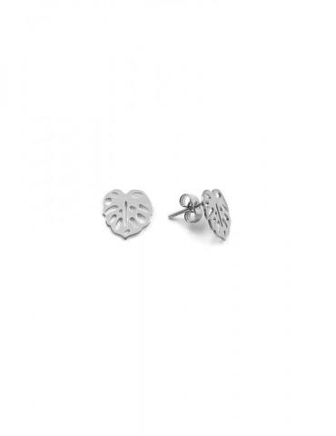 Boucles d'oreilles Puces Monstera en Argent 925 Aloe Bijoux