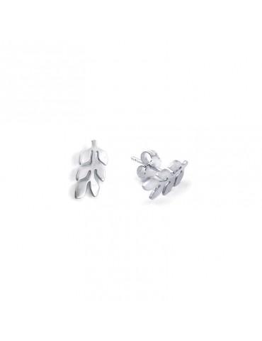 Boucles d'oreilles Puces laurier en Argent 925 Aloe Bijoux