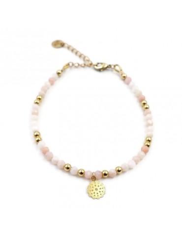 Bracelet Opale rose et Fleur filigrane en plaqué or Aloe Bijoux