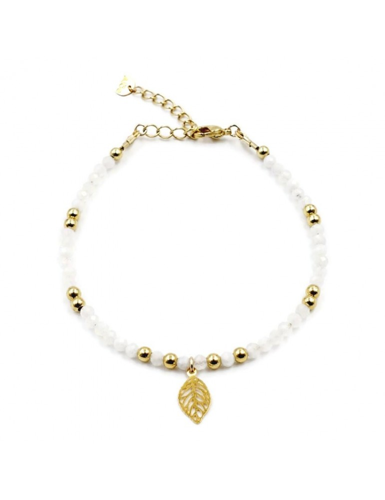 Bracelet Pierre de lune et feuille en plaqué or Aloe Bijoux