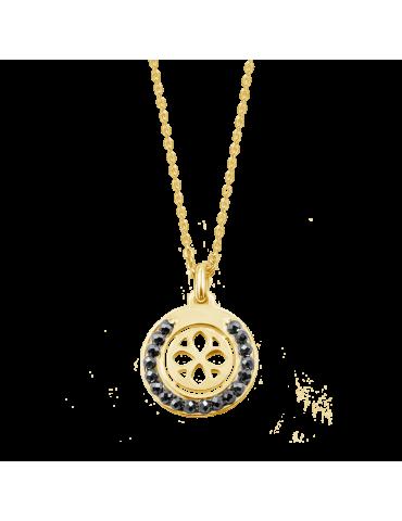 Collier cercle en Spinelle noir et Plaqué or Aloe Bijoux