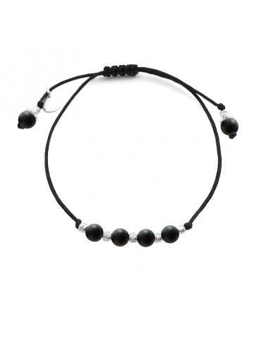 Bracelet Cordon noir Onyx 4mm et Argent 925 - Olga Aloe Bijoux