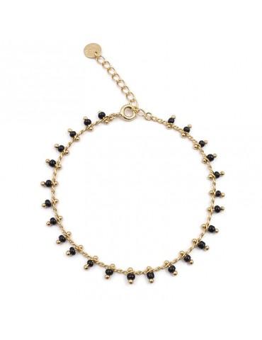 Bracelet chaine avec perles de céramique noires en plaqué or Aloe Bijoux