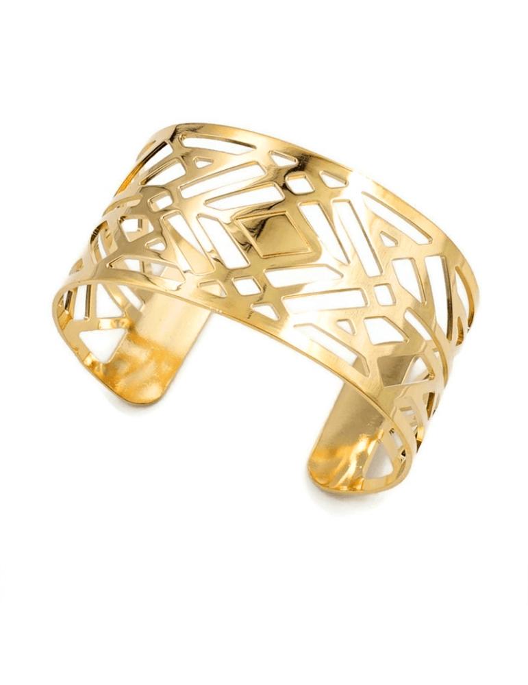Bracelet manchette Large en Plaqué or - Losange Aloe Bijoux