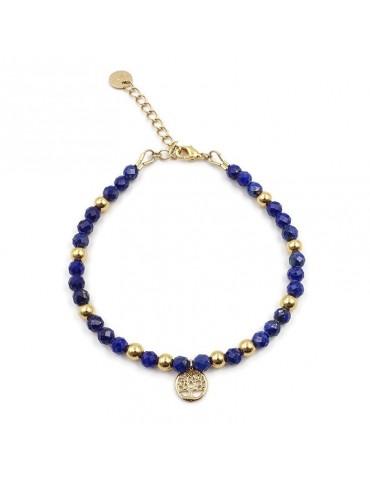 Bracelet Lapis Lazuli et Arbre de vie en plaqué or Aloe Bijoux