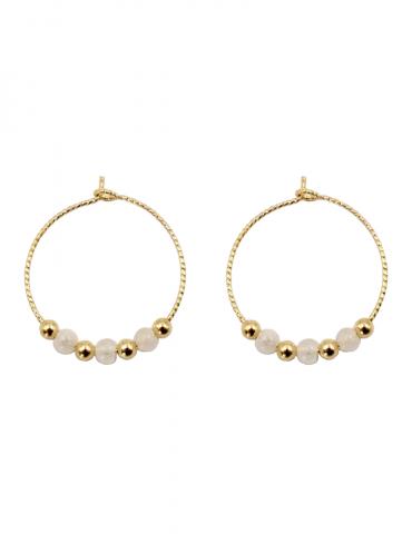 créoles diamantées en plaqué or avec pierre de lune Aloe Bijoux