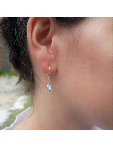 Boucles d'oreilles dormeuses topaze bleue en Argent 925 Aloe Bijoux
